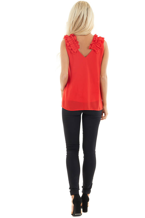 Lipstick Red Sleeveless Top with Gathered Shoulder Details back full body