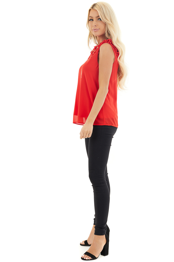 Lipstick Red Sleeveless Top with Gathered Shoulder Details side full body