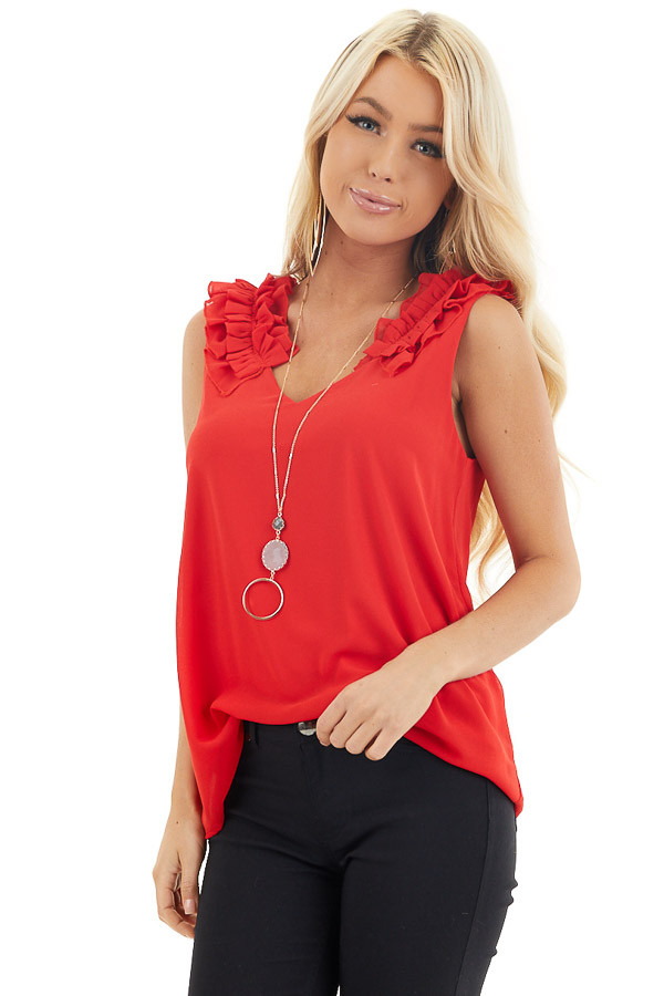 Lipstick Red Sleeveless Top with Gathered Shoulder Details front close up