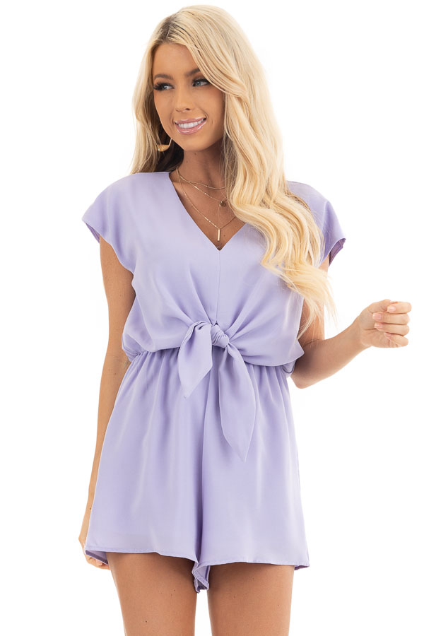 Lavender Cap Sleeve V Neck Romper with Front Tie front close up