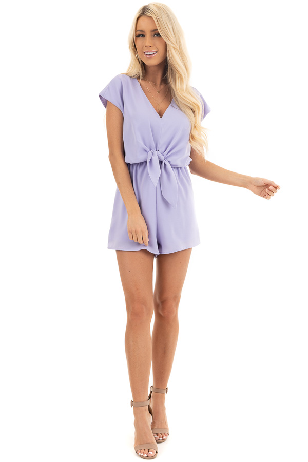 Lavender Cap Sleeve V Neck Romper with Front Tie front full body