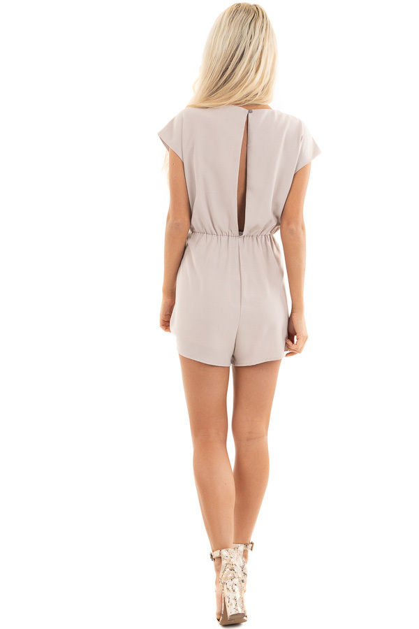Latte Cap Sleeve V Neck Romper with Front Tie back full body