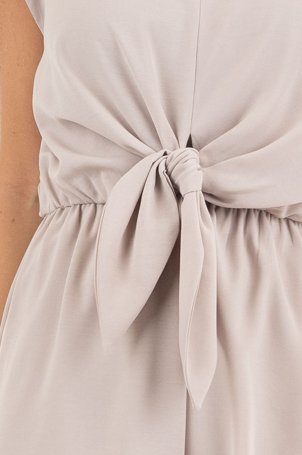 Latte Cap Sleeve V Neck Romper with Front Tie detail