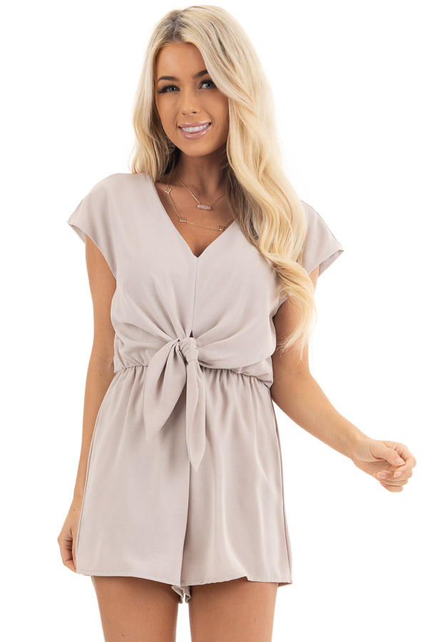 Latte Cap Sleeve V Neck Romper with Front Tie front close up