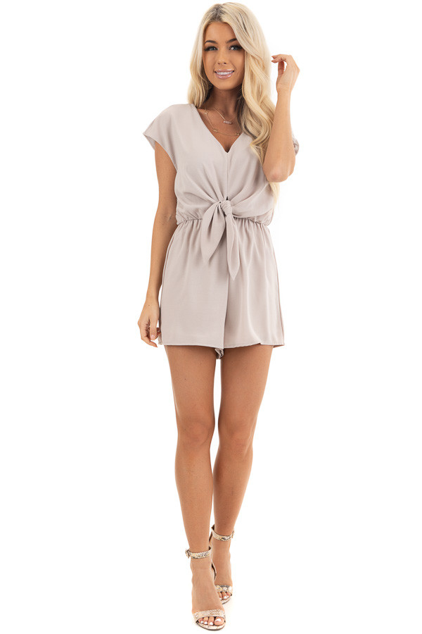 Latte Cap Sleeve V Neck Romper with Front Tie front full body