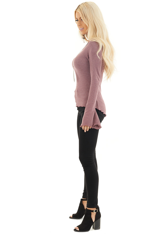 Dark Lilac Waffle Knit High Low Top with Long Bell Sleeves side full body