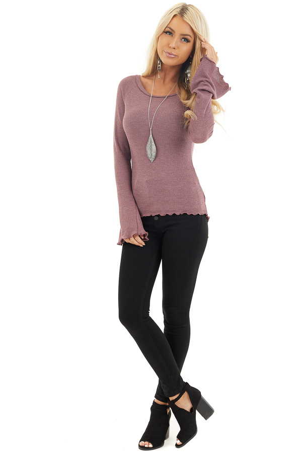 Dark Lilac Waffle Knit High Low Top with Long Bell Sleeves front full body