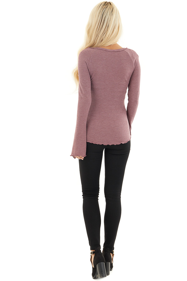 Dark Lilac Waffle Knit High Low Top with Long Bell Sleeves back full body