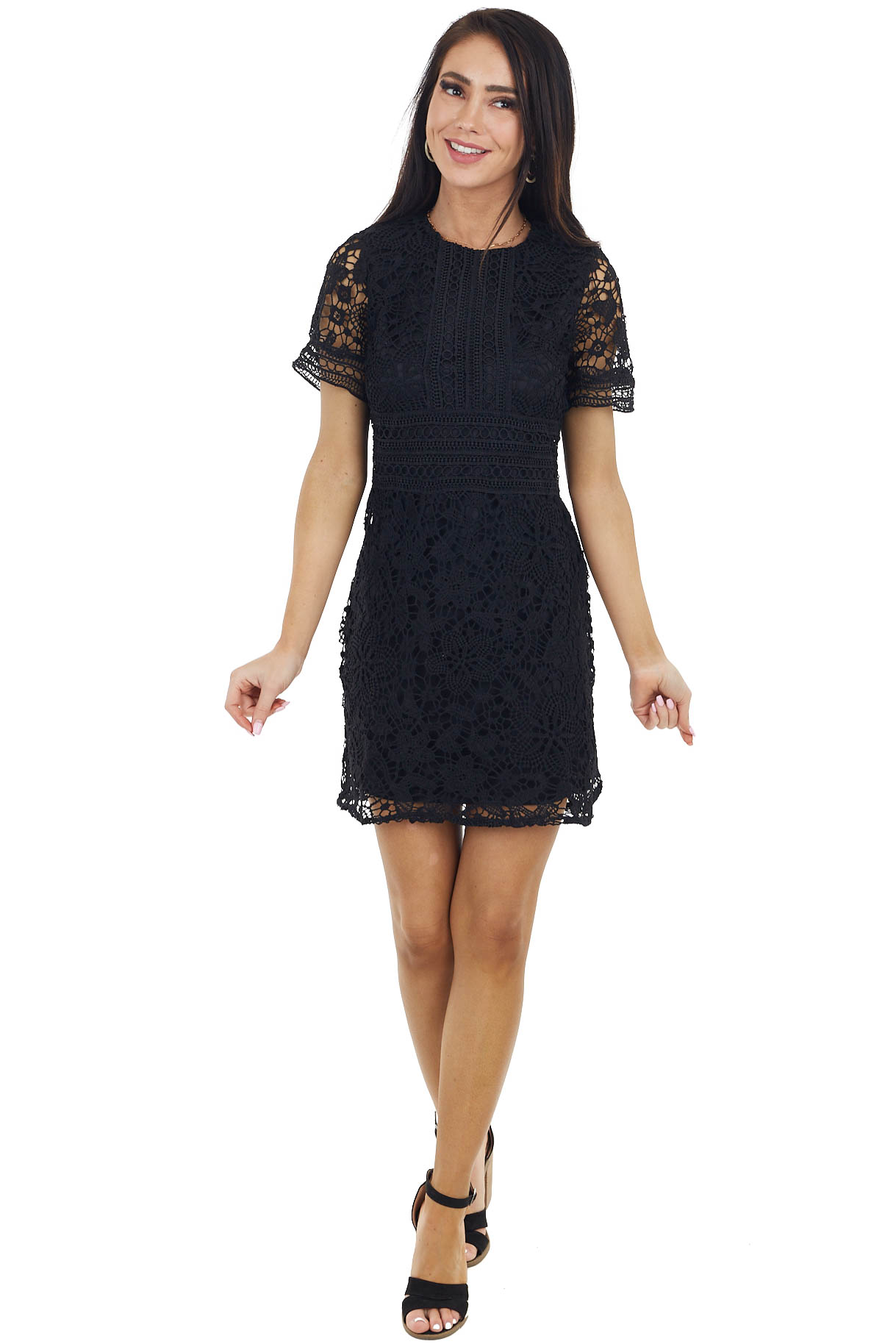 Black Short Sleeve Crochet Mini Dress