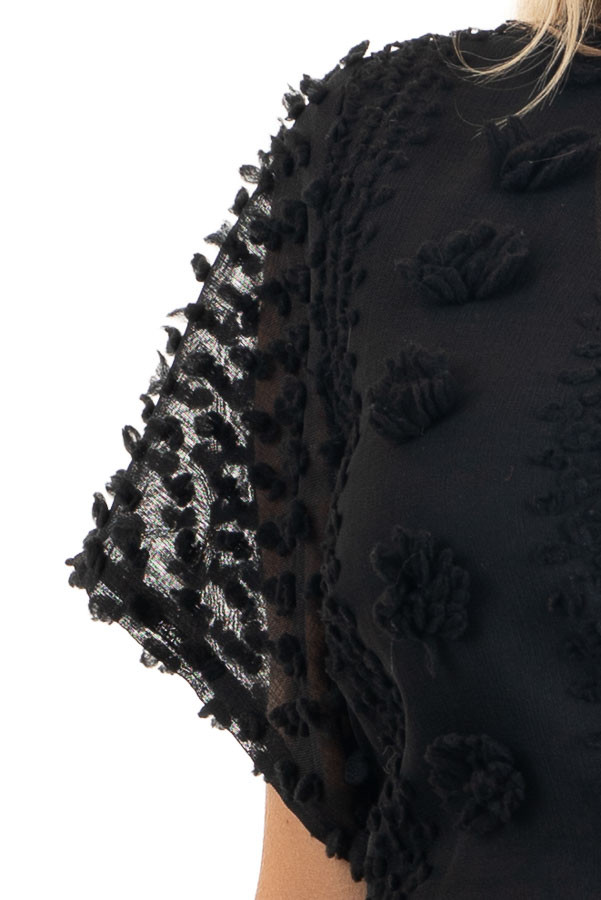 Black Textured Dress with Wrap Detail and Ruffle Hemline detail