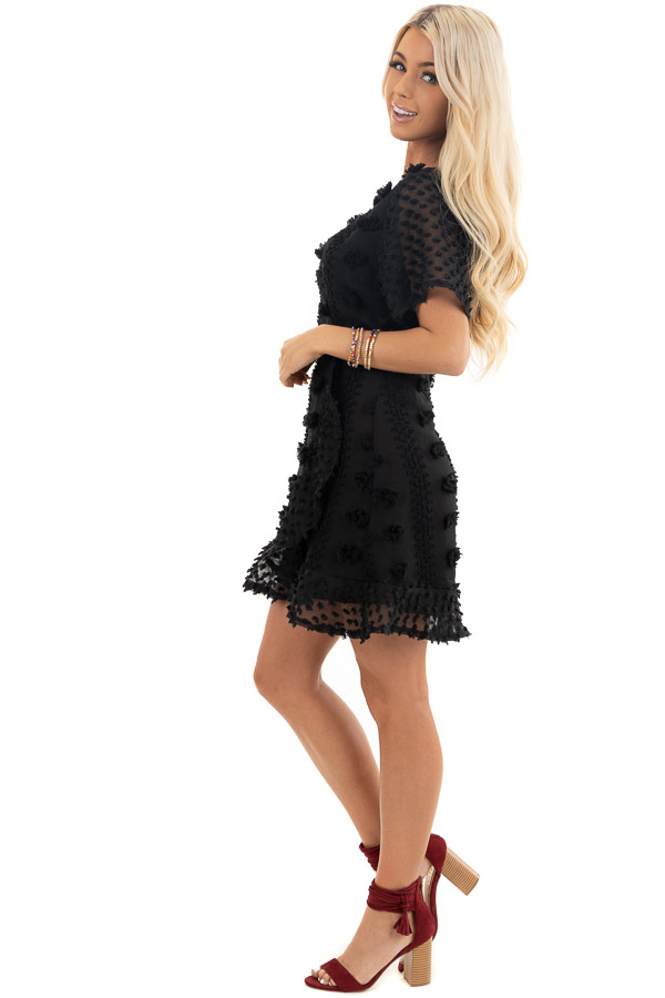 Black Textured Dress with Wrap Detail and Ruffle Hemline side full body