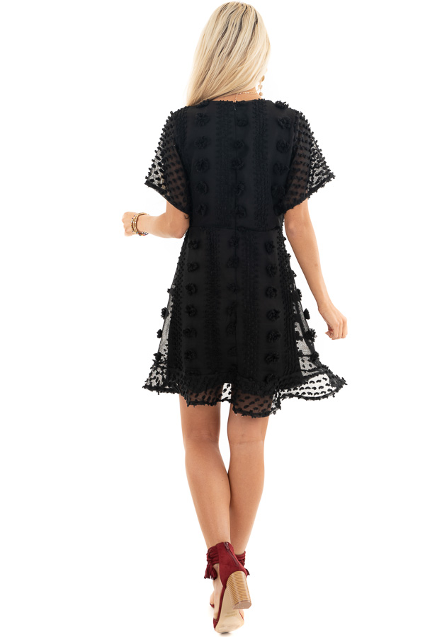 Black Textured Dress with Wrap Detail and Ruffle Hemline back full body