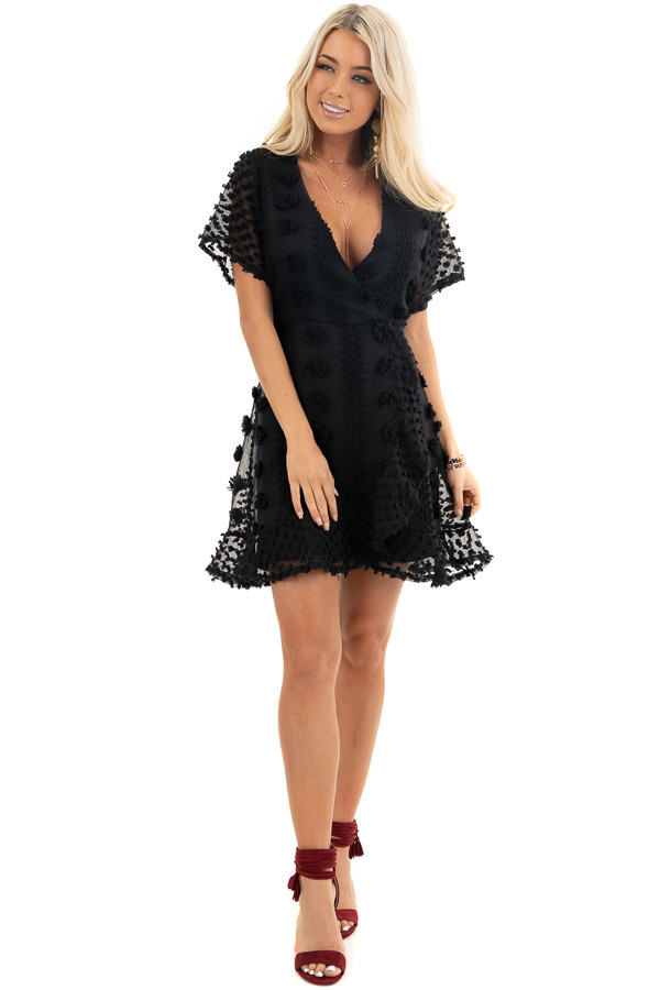 Black Textured Dress with Wrap Detail and Ruffle Hemline front full body