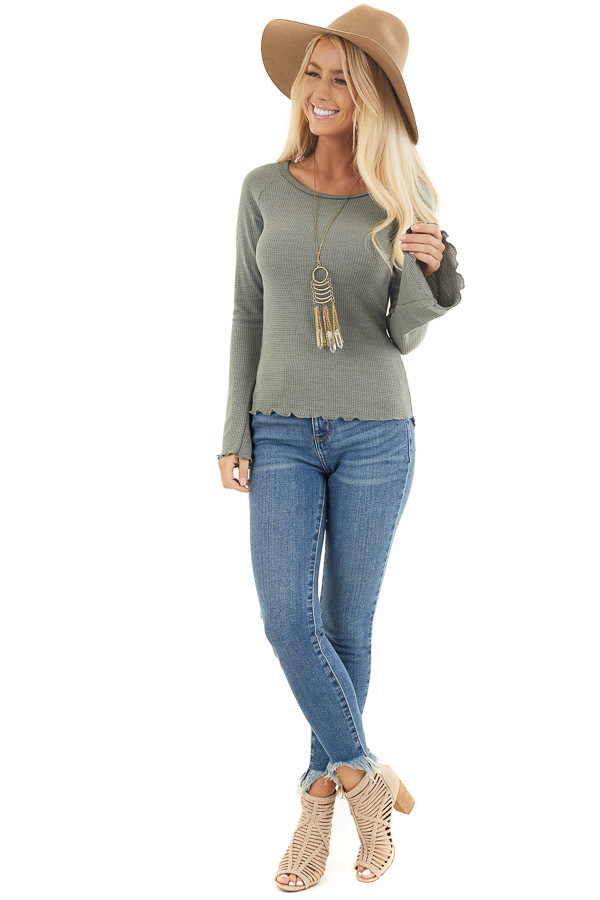 Sage Waffle Knit High Low Top with Long Bell Sleeves front full body