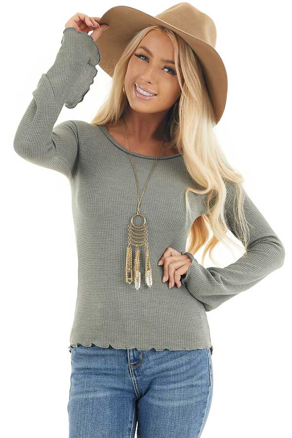 Sage Waffle Knit High Low Top with Long Bell Sleeves front close up