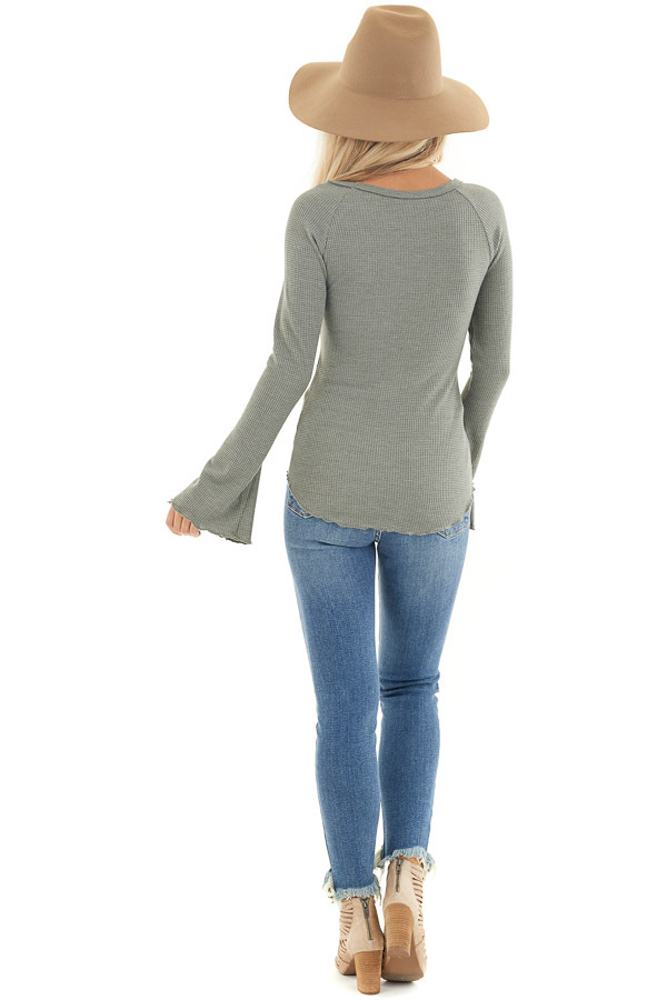 Sage Waffle Knit High Low Top with Long Bell Sleeves back full body