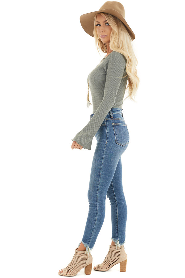 Sage Waffle Knit High Low Top with Long Bell Sleeves side full body