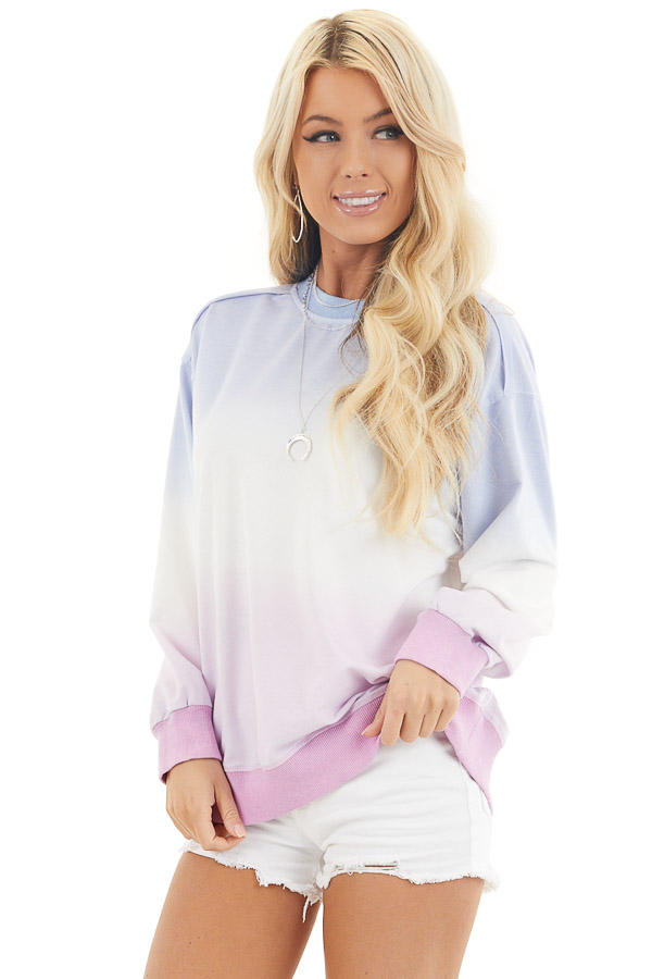 Sky Blue and Baby Pink Ombre Dyed Knit Sweater Top front close up
