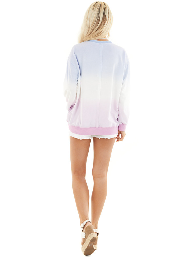 Sky Blue and Baby Pink Ombre Dyed Knit Sweater Top back full body