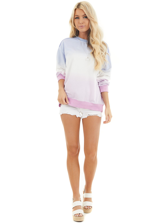 Sky Blue and Baby Pink Ombre Dyed Knit Sweater Top front full body