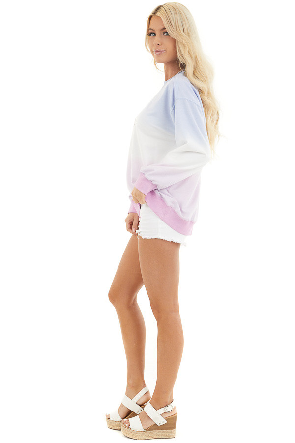 Sky Blue and Baby Pink Ombre Dyed Knit Sweater Top side full body
