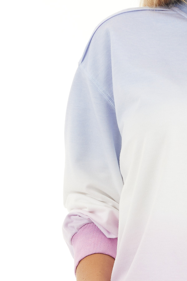 Sky Blue and Baby Pink Ombre Dyed Knit Sweater Top detail