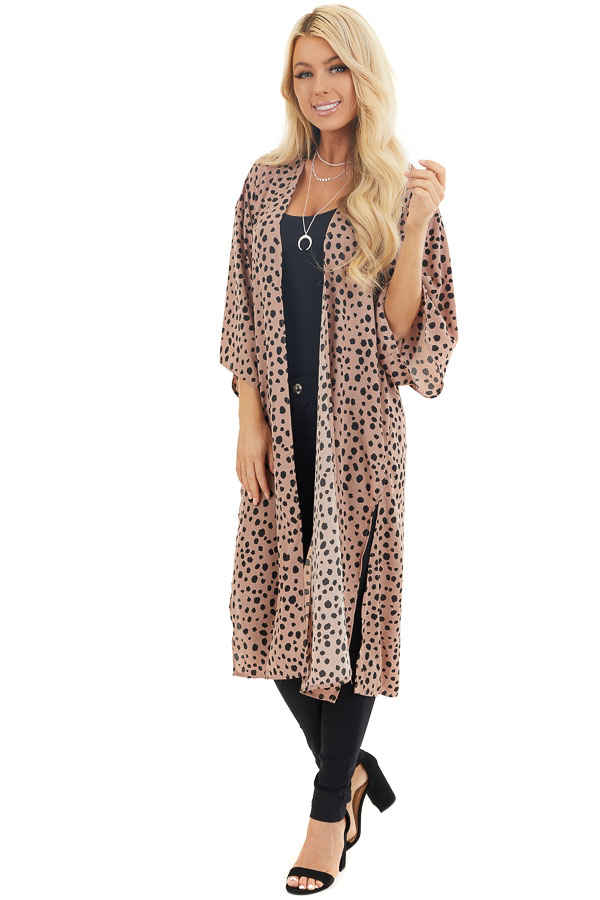Dusty Rose and Black Printed Kimono with Side Slits front full body
