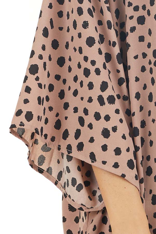 Dusty Rose and Black Printed Kimono with Side Slits detail