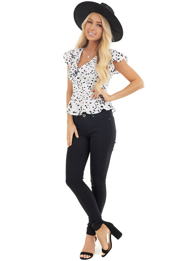Off White and Black Polka Dot V Neck Button Up Peplum Blouse front full body