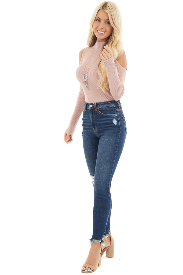 Blush Slim Fit Cold Shoulder Knit Top with Long Sleeves front full body