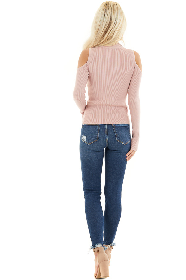 Blush Slim Fit Cold Shoulder Knit Top with Long Sleeves back full body