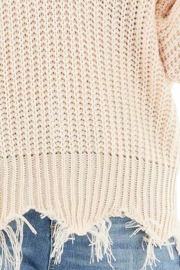 Soft Peach V Neck Sweater with Distressed Hemline and Cuffs detail