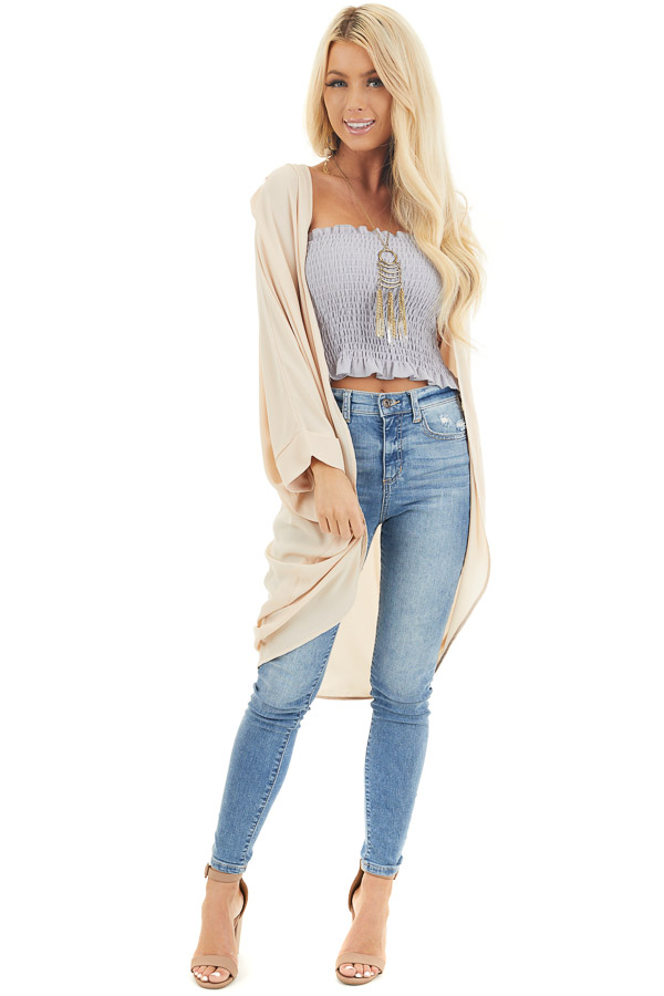 Champagne 3/4 Sleeve Woven Cocoon Cardigan front full body