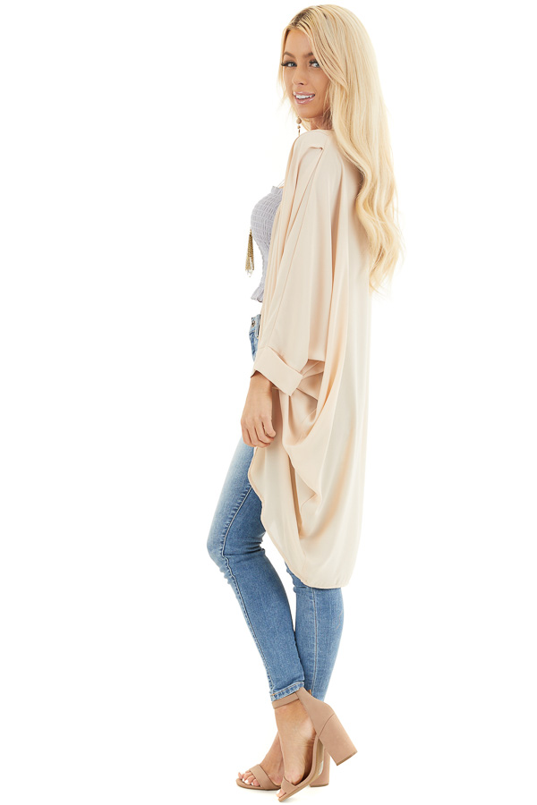 Champagne 3/4 Sleeve Woven Cocoon Cardigan side full body