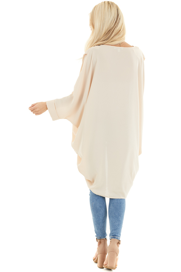 Champagne 3/4 Sleeve Woven Cocoon Cardigan back full body