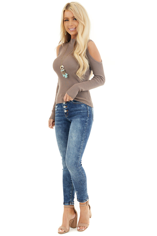 Mocha Slim Fit Cold Shoulder Knit Top with Long Sleeves front full body