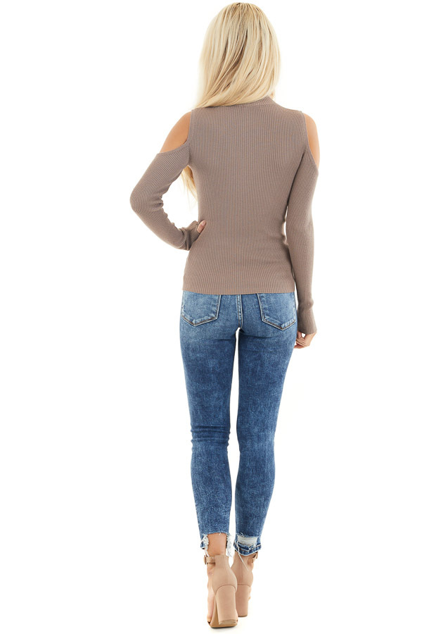 Mocha Slim Fit Cold Shoulder Knit Top with Long Sleeves back full body
