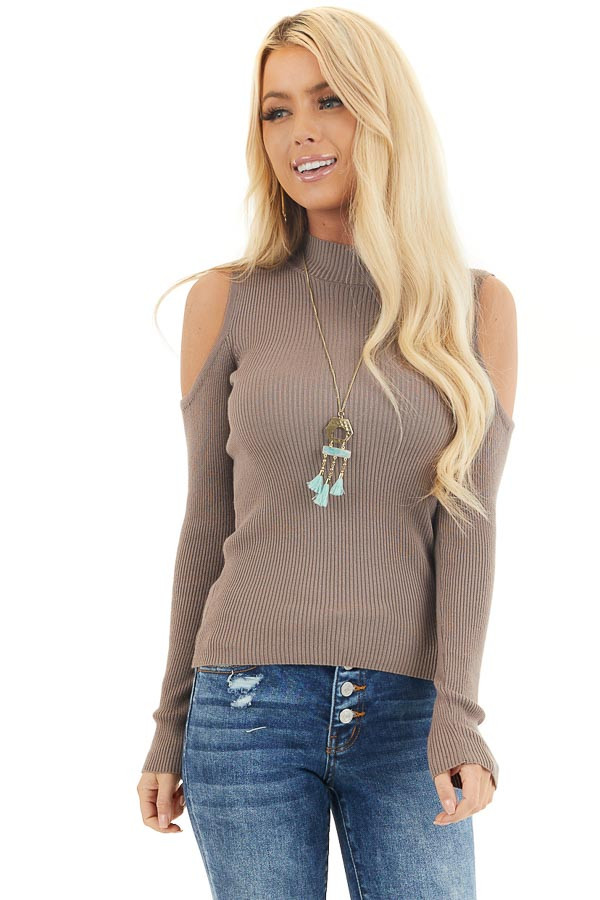 Mocha Slim Fit Cold Shoulder Knit Top with Long Sleeves front close up