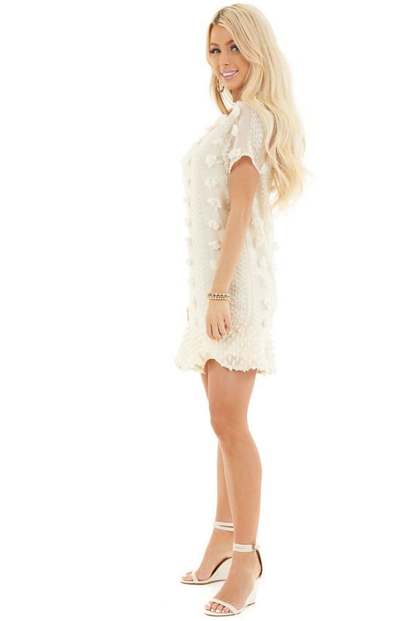 Cream Dress with 3D Textured Details and Ruffle Hemline side full body