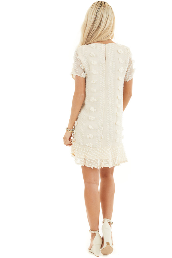 Cream Dress with 3D Textured Details and Ruffle Hemline back full body
