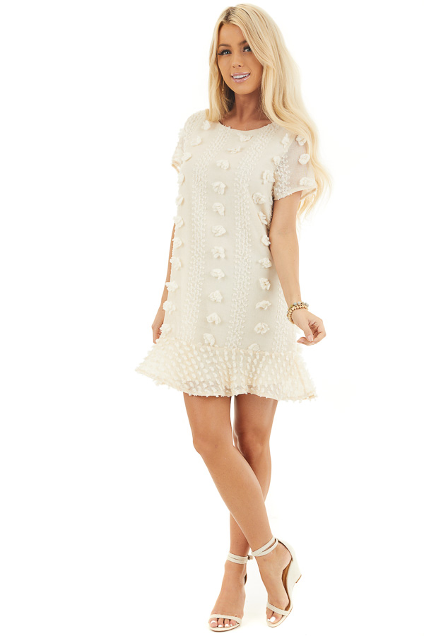 Cream Dress with 3D Textured Details and Ruffle Hemline front full body