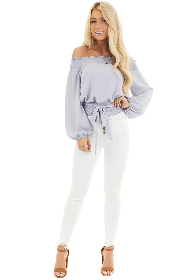 Soft Lavender Off the Shoulder Long Sleeve Top with Tie front full body