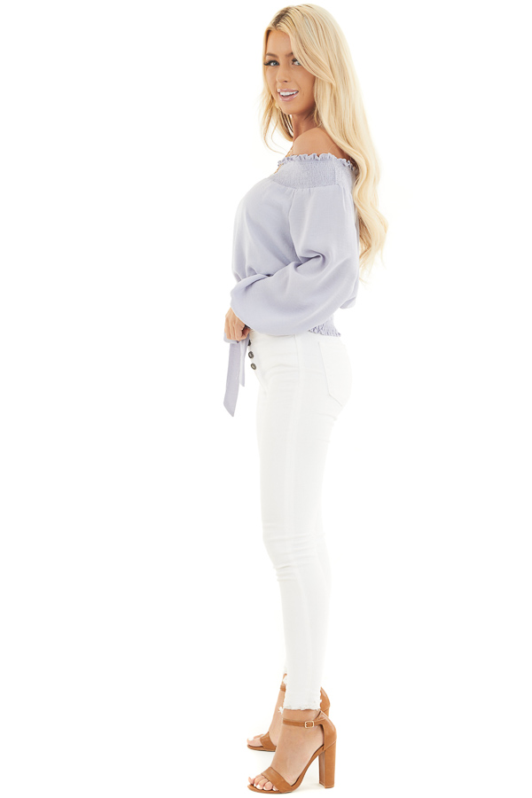 Soft Lavender Off the Shoulder Long Sleeve Top with Tie side full body