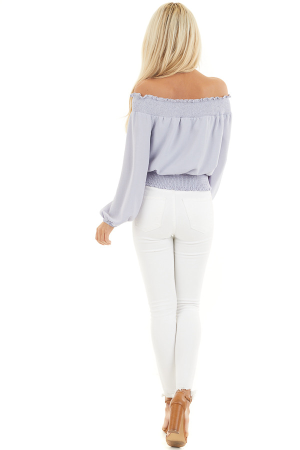 Soft Lavender Off the Shoulder Long Sleeve Top with Tie back full body