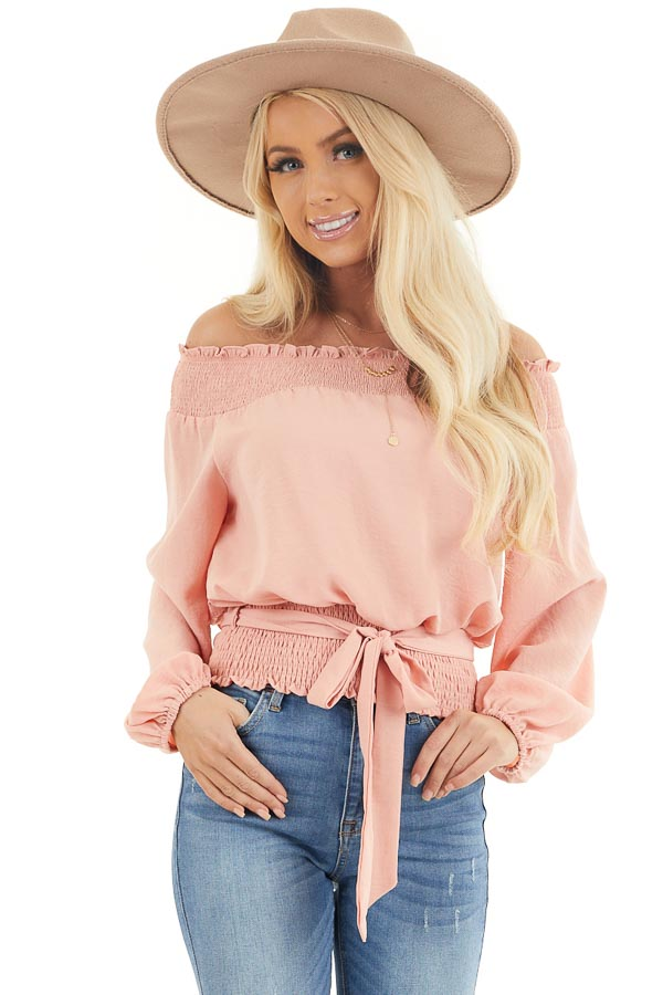 Peach Off the Shoulder Long Sleeve Top with Tie front close up