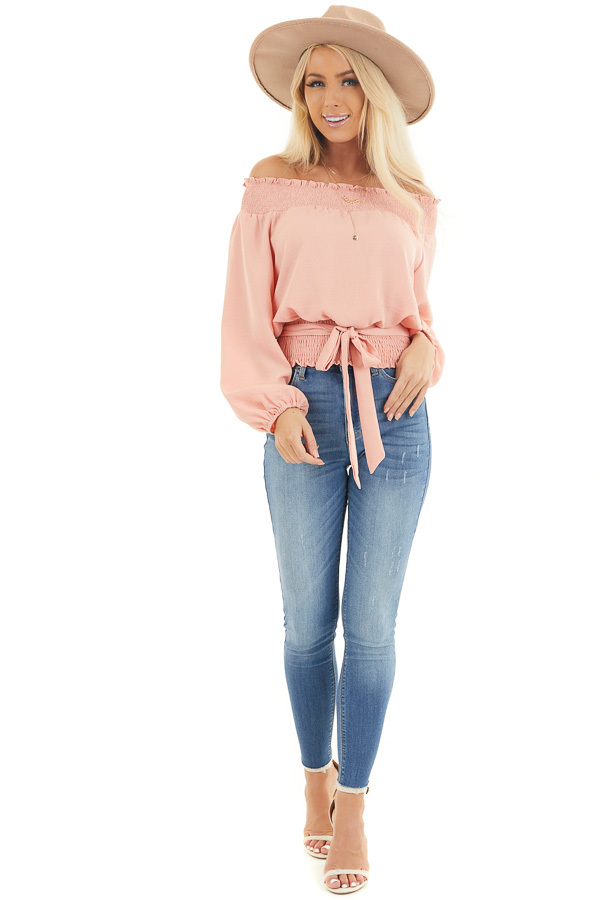Peach Off the Shoulder Long Sleeve Top with Tie front full body