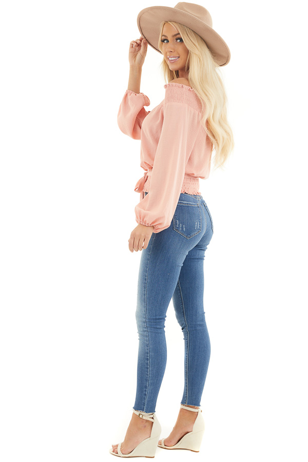 Peach Off the Shoulder Long Sleeve Top with Tie side full body
