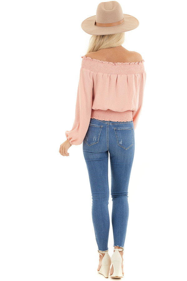 Peach Off the Shoulder Long Sleeve Top with Tie back full body