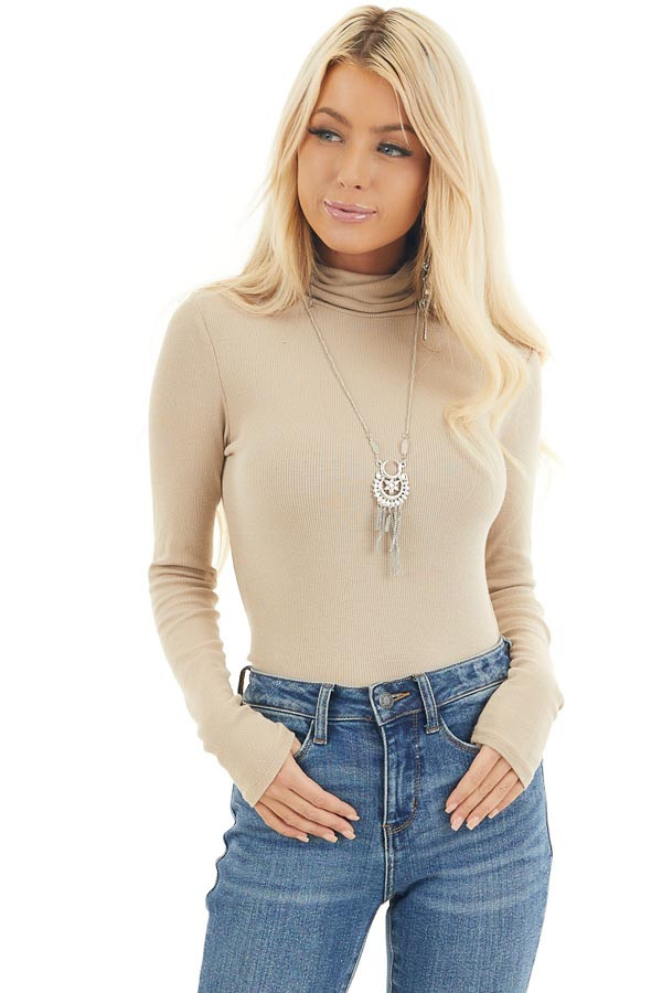Beige Turtleneck Slim Fit Knit Top with Long Sleeves front close up
