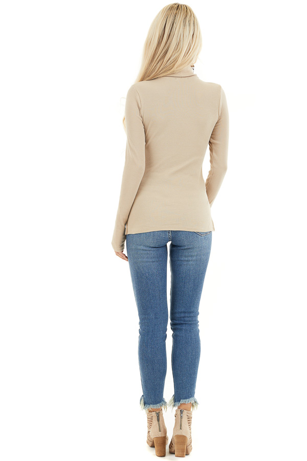 Beige Turtleneck Slim Fit Knit Top with Long Sleeves back full body